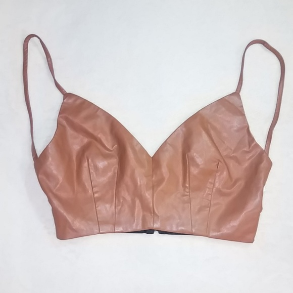 goodtime Tops - Backless Faux Leather Crop Top
